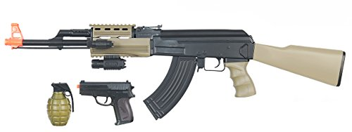 CYMA-Tactical-AK-SemiFull-Auto-AEG-Electric-Airsoft-Rifle-Spring-Pistol-Combo-Gun-Set-FPS-180-Tan