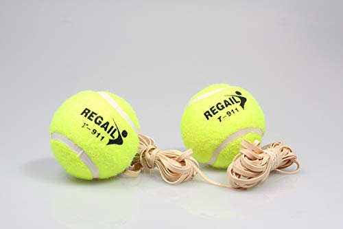 Dilwe Tennis Balls, Rubber Training Self-Study Tool with String for Tennis Practice Training Aid
