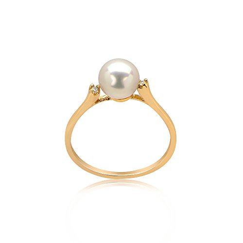 14k Yellow Gold Cultured Freshwater Pearl Ring with .02Cts of Diamonds (White) (Gold Ring 14k Yellow Pearl)