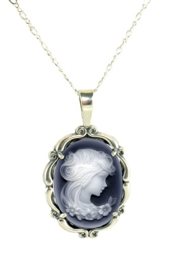 Jansjewells Sterling Silver Vintage Style Large Agate Cameo Pendant with Chain Chain Sterling Silver Brooch