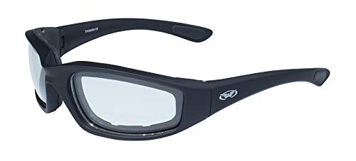 Global Vision Eyewear Kickback Sunglasses with EVA Foam, Clear Lens, Soft Touch Black Frame