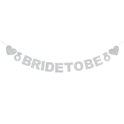 (AZIWEI Silver Glitter Bride to Be Banner-Heart-Shaped,Wedding Ring for Wedding/Propose Party Decorations Creative Photo Props.)