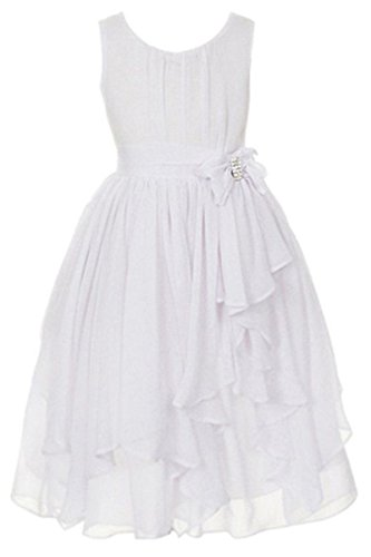 YMING Sleeveless Chiffon Asymmetric Ruffled Flower Girl Dresses White 6-7 Years (White Tutu Party City)