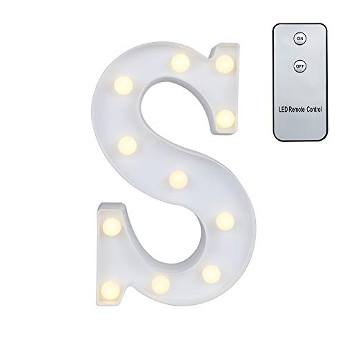 Lamp Alphabet (Carry360 LED Marquee Letters with Remote Control, Plastic LED Letter Lights Alphabet Light Up Sign Decoration, Letters A - Z, Numbers 0-9, Symbol & (S))
