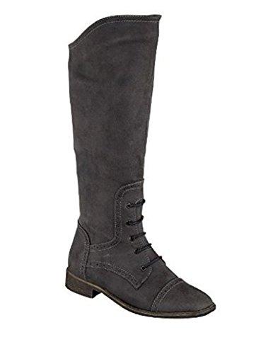 Ladies L9311 Black High Leg Lace Trim Inside Zip Boot (UK 8) IVLx20LVB