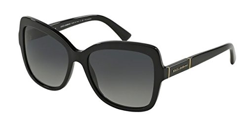Dolce and Gabbana DG4244 501/T3 Black Logo Plaque Butterfly Sunglasses - Dolcegabbana Sunglasses