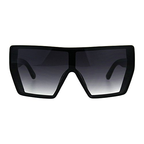 Womens Flat Top Shield Plastic Funk Oversize Robotic Sunglasses Shiny - Funk Sunglasses