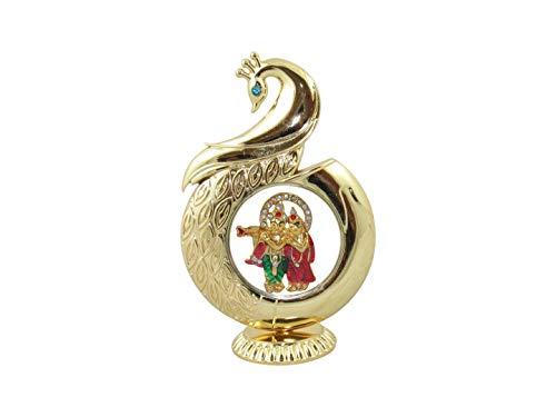 GoldGiftIdeas 24K Gold Plated Peacock Shape Radhe Krishna Idol for Car Dashboard, Good Luck God Idol for Gift, Return Gifts for Baby Shower]()