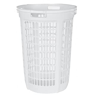 Laundry basket tall plastic do it yourselfore united solutions ln0045 two bushel white laundry hamper 2 bushel laundry hamper in white solutioingenieria Image collections