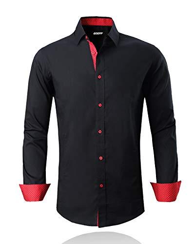 - Rabrgab Dress Shirts for Men - Long Sleeve Regular Fit Cotton Spread Collar Solid Casual Shirt, Black-L