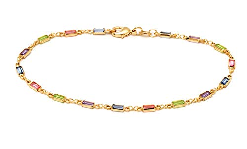 Barzel 18K Gold Plated Gold and Multi Color Crystal Baguette Anklet - Crystal 18k Plated Gold