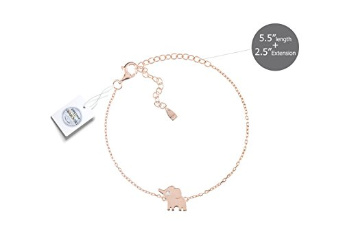 Vivid&Keith Womens Girls 925 Real Sterling Silver 18K Plated Swarovski Zirconia Cute Adjustable Animal Gift Fashion Jewelry Link Chain Charm Pendant Bangle Bracelet, Elephant, Rose Gold Plated ()