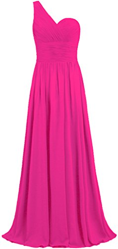 ANTS Women's One Shoulder Long Chiffon Bridesmaid Dress Homecoming Gown Size 18W US Hot Pink