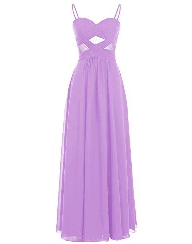 Through See Prom Long Spaghetti Straps Purple Chiffon Gown ALAGIRLS Dress gWIvRFwWq