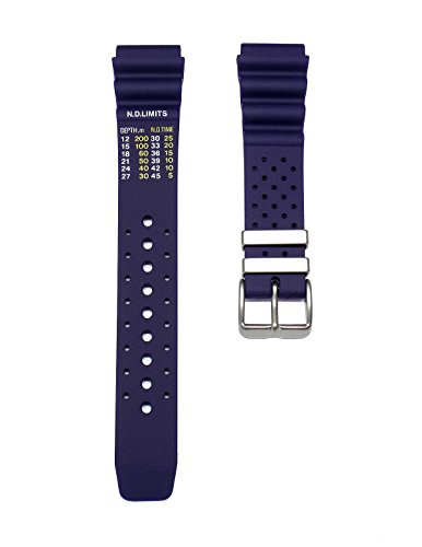 20mm TIMEWHEEL Dark Blue Italian Rubber Watch Band Strap Fits Aqualand Promaster BN0151-09L, BN0151-17L Diver Watch