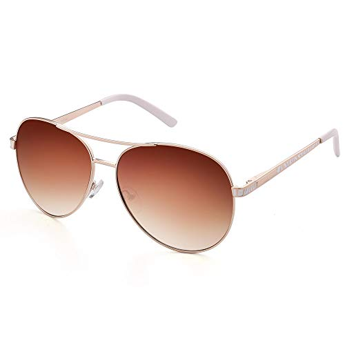 LotFancy Aviator Sunglasses for Women with Case, UV400 Protection, 61MM, Lightweight Eyewear for Driving Fishing Sports, Brown Gradient Lens, Gold Metal Frame ()