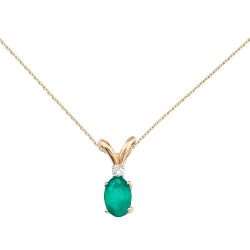 Yellow Gold Emerald Pendant - 14k Yellow Gold Emerald and Diamond Oval Pendant with 18