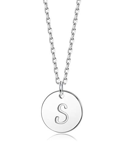 Sllaiss Initial Pendant Necklace Round Disc Engraved Letter Pendant 925 Sterling Silver Personalized Alphabet Pendant for Women Girls Teen (S)