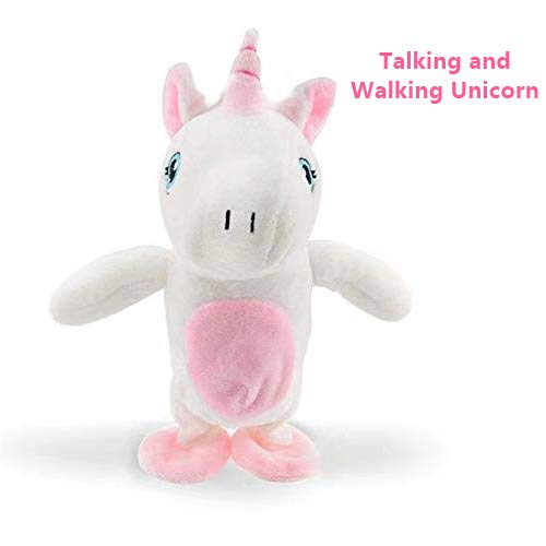 Cute Interactive Unicorn Plush Toys for Boys Girls Kids, Talking and Walking Unicorn, Repeats What You Say Funny Kids Stuffed Animal Doll,Perfect Christmas and Birthday Present Child Early Learning
