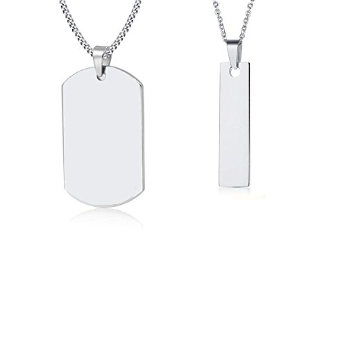 VNOX His and Hers Military Spouse Couples Necklace Set-Personalized Dog Tag &Vertical Bar Pendant,Free Chain ()