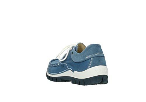 Wolky Komfort Snøre Opp Skoene Flyr 20890 Vintage Bleu Lær