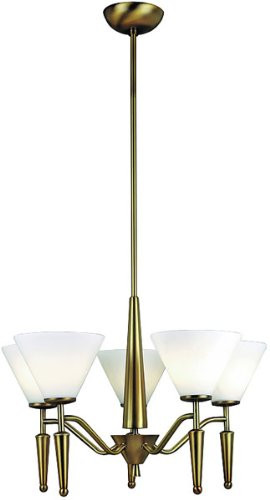 Lite Source LS-10325BRZ/WHT Martini 5-Lite Ceiling Lamp, Bronze with White Glass