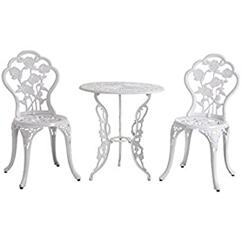 Amazon.com : Sunjoy Rosier Bistro Set 3pcs, White : Garden & Outdoor