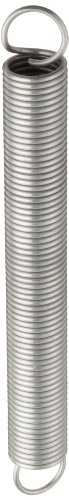 """Extension Spring, 316 Stainless Steel, Inch, 1"""" OD, 0.105"""" Wire Size, 2.75"""" Free Length, 3.48"""" Extended Length, 20.23 lbs Load Capacity, 23.49 lbs/in Spring Rate (Pack of 10)"""