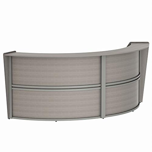 Curved Front Reception - Linea Italia Curved Reception Desk, Double Unit, Ash Laminate, Modern Office Lobby, Perfect for Small Spaces, Receptionist, Secretary (ZUD290)