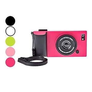 TY-Camera caso duro del diseño de la simulación con la correa y el soporte para el iPhone 5/5s (colores surtidos) , Rosado