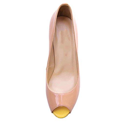 Arc-en-Ciel zapatos de plataforma de la mujer peep toe de tacón alto-nudemulticolor-us5