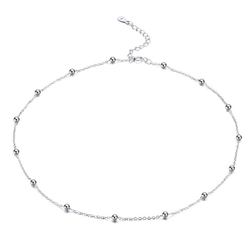 FOROLAV Womens 925 Sterling Silver Beaded Cable Chain Choker Necklace Adjustable, 13.7