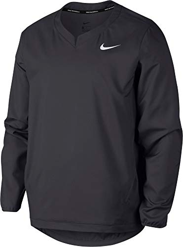 (Nike Men's Long Sleeve Baseball Jacket Anthracite/White Size Large)