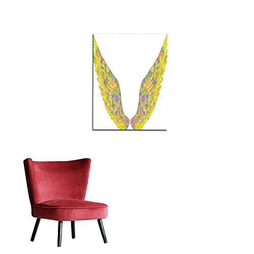 longbuyer Art Stickers Yellow Wings in Decorative Style on a White Background Mural 20