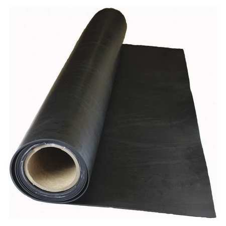 1/8' 2-Ply Cloth Inserted Neoprene Rubber Sheet, 36'x120', Black, 60A