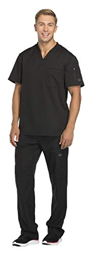 Dickies Dynamix Men's Stretch V-Neck Top DK610 & Men's Zip Fly Elastic Waist Drawstring Cargo Pant DK110 Scrub Set (Black - X-Large/Large Short)