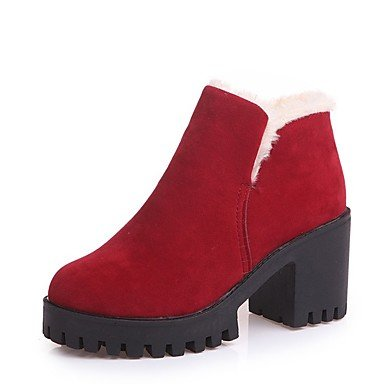 Casual Suede Calf Round For Shoes 7 CN37 Toe Boots Boots Heel Boots US6 Fall UK4 5 Mid 5 5 Women'S Chunky Black Red Fashion EU37 RTRY w7AzEZqw