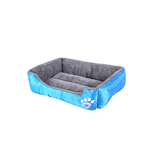 luciphia Rectangle Pet Dog Sofa Bed - Paw and Bone Patterned Linen Fabric Cover Square Water-Resistant Bottom (Best Sofa Fabric For Dogs)
