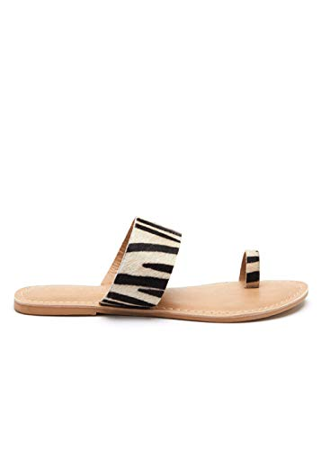 Matisse Womens Riva Zebra Animal Print Toe Ring Sandal, used for sale  Delivered anywhere in USA