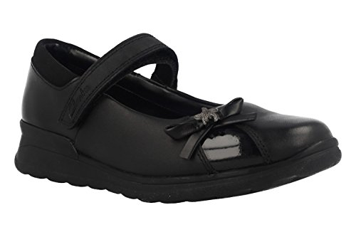 Clarks MarielWish Jnr Girls School Shoes Schwarz
