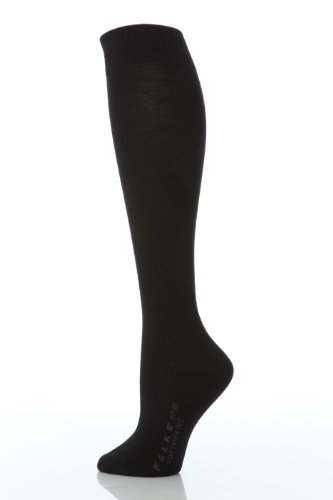 Falke Women's Soft Merino Wool-Cotton Knee High Socks, Black, 37-38 -
