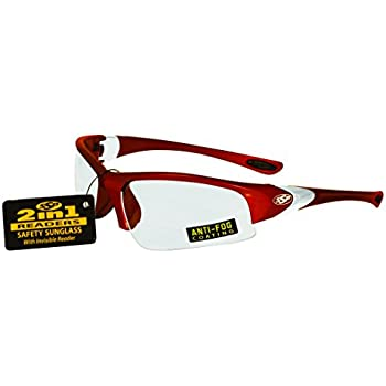 c9609cb035 SSP Eyewear 2.00 Bifocal Reader Safety Glasses with Red Frames and Clear  Anti-Fog Lenses