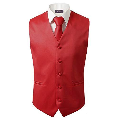 - 3 Pcs Vest + Tie + Hankie Men's Fashion Formal Dress Suit Slim Tuxedo Waistcoat Coat (X-Small, Red)