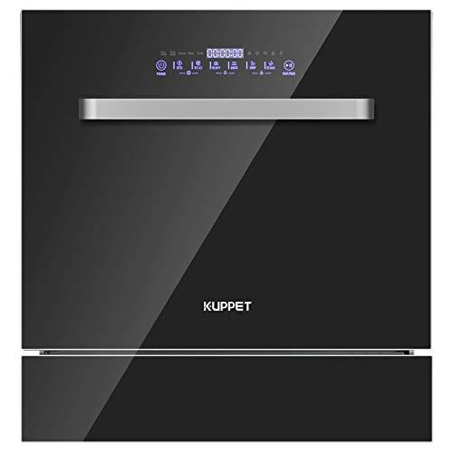KUPPET Built-in Dishwasher, Dishwasher with 8 Place Setting, 6 One-Botton Control Washing Programme LED Display, Countertop Dishwasher with Shiny Wash&Soak Wash, Precise Set Up, Black Stainless Steel