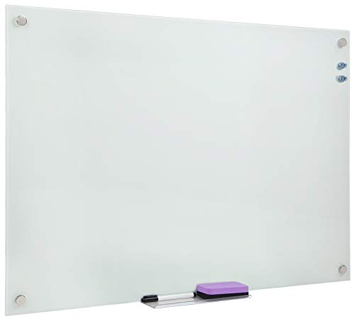 Mount-It! Magnetic Glass Dry Erase Board, Floating Wall Mounted Frameless Frosted Whiteboard with Accessory Tray, Includes Bonus Accessory Kit, 36x24 Inches, MI-10703 ()