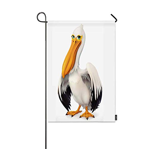 Mugod Garden Flag 3D Funny Pelican on White Background Decorative Spring Summer Outdoor House Flag for Garden Yard Lawn 12 x 18 Inch