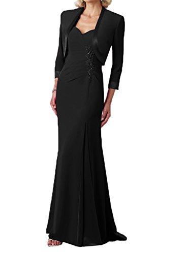Jaket Chiffon Damen Schwarz Abendkleider Partykleider Brautmutterkleider lang Charmant Elegant 0ptdx4a