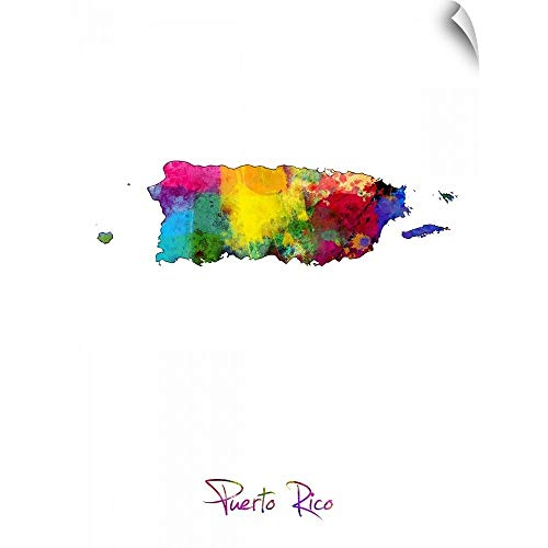 CANVAS ON DEMAND Puerto Rico Watercolor Map Wall Peel Art Print, 12