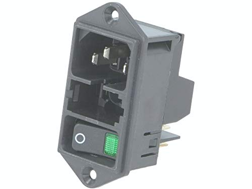 Power Entry Connector, DD11 Series, Receptacle, 250 VAC, 10 A, Panel Mount, Quick Connect by Schurter