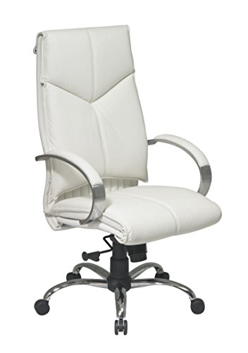 Office Star White Leather Executive Chair - Wheel Star Office Soft